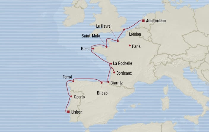 Oceania Cruises | 12-Nights from Amsterdam to Lisbon Cruise Iinerary Map