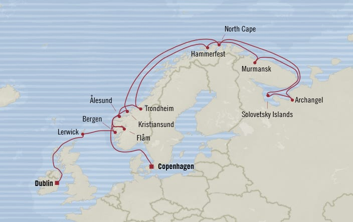 Oceania Cruises | 18-Nights from Dublin to Copenhagen Cruise Iinerary Map
