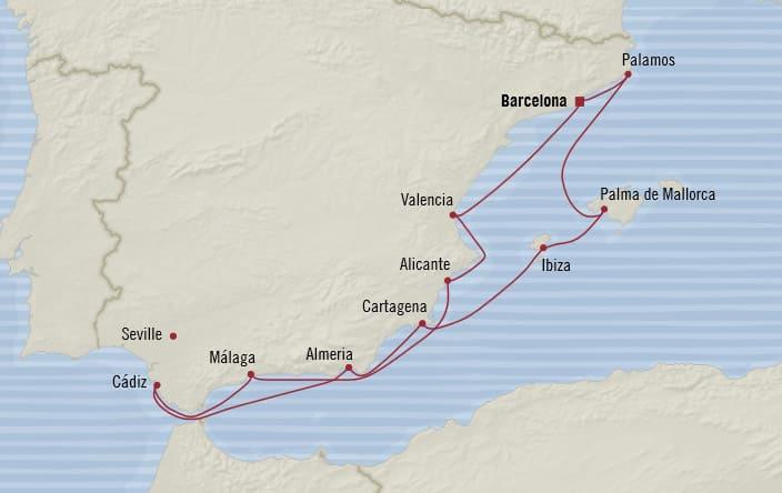 Oceania Cruises | 10-Nights Roundtrip from Barcelona Cruise Iinerary Map