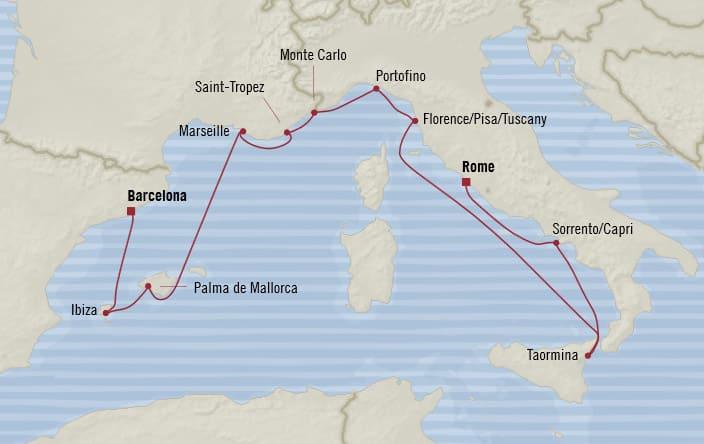 Oceania Cruises | 12-Nights from Barcelona to Rome Cruise Iinerary Map