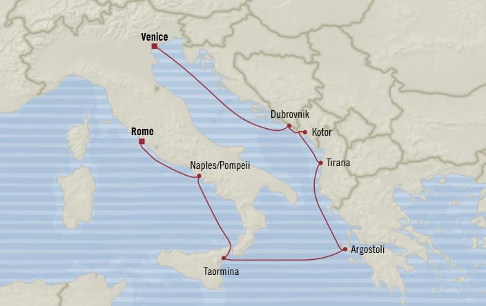 Oceania Cruises | 7-Nights from Venice to Rome Cruise Iinerary Map