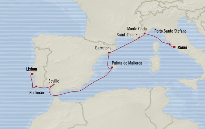 Oceania Cruises | 10-Nights from Lisbon to Rome Cruise Iinerary Map