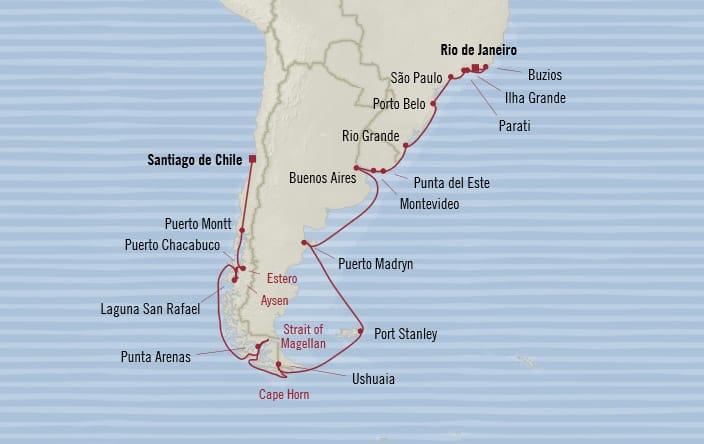 Oceania Cruises | 27-Nights from Santiago to Rio de Janeiro Cruise Iinerary Map
