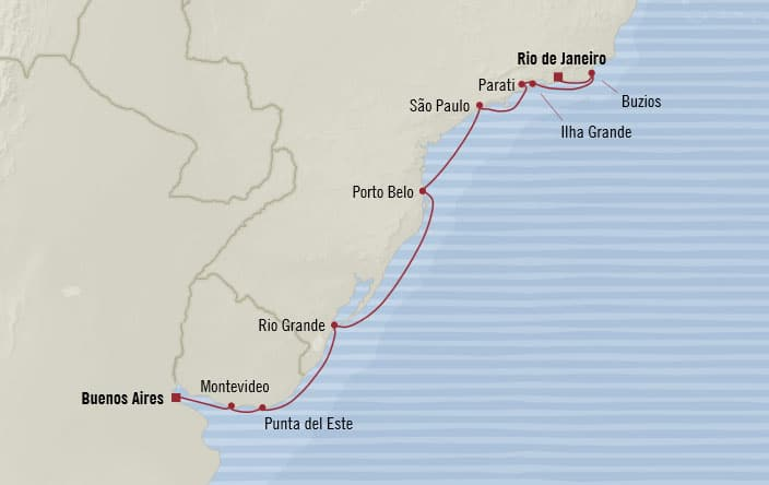 Oceania Cruises | 12-Nights from Rio de Janeiro to Buenos Aires Cruise Iinerary Map