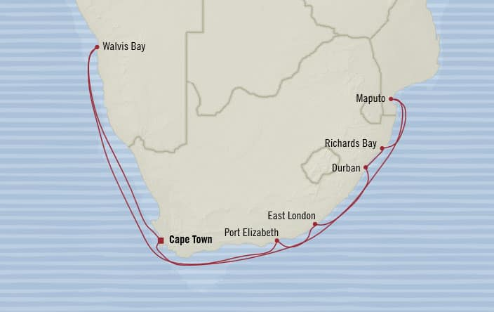 Oceania Cruises | 14-Nights Roundtrip from Cape Town Cruise Iinerary Map