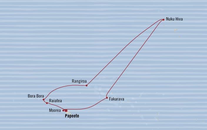 Oceania Cruises | 10-Nights Roundtrip from Papeete Cruise Iinerary Map