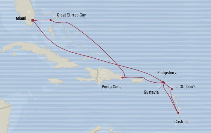 Oceania Cruises | 10-Nights Roundtrip from Miami Cruise Iinerary Map