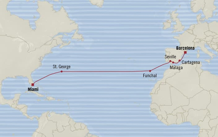 Oceania Cruises | 15-Nights from Barcelona to Miami Cruise Iinerary Map