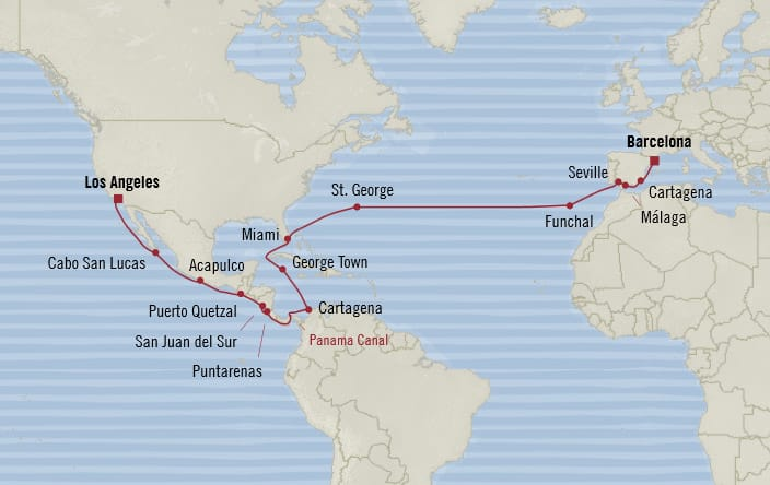 Oceania Cruises | 31-Nights from Barcelona to Los Angeles Cruise Iinerary Map