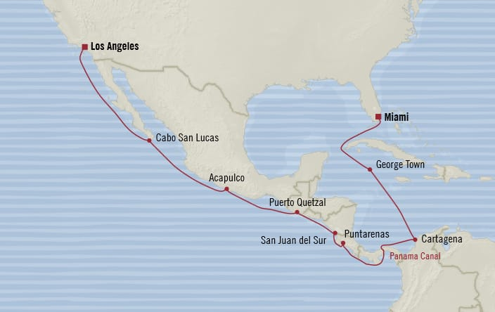 Oceania Cruises | 16-Nights from Miami to Los Angeles Cruise Iinerary Map