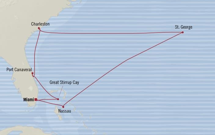 Oceania Cruises   10-Nights Roundtrip from Miami Cruise Iinerary Map