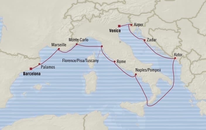 Oceania Cruises | 12-Nights from Barcelona to Venice Cruise Iinerary Map