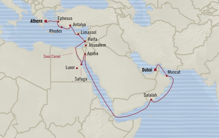 Oceania Cruises | 20-Nights from Athens to Dubai Cruise Iinerary Map