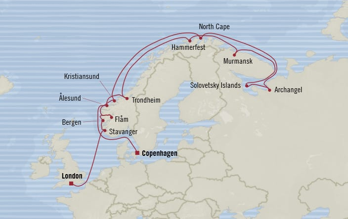 Oceania Cruises | 18-Nights from Copenhagen to London Cruise Iinerary Map