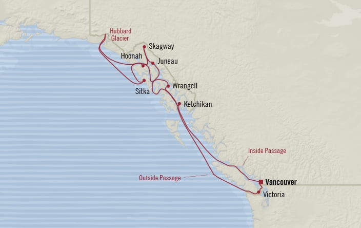Oceania Cruises | 11-Nights Roundtrip from Vancouver Cruise Iinerary Map