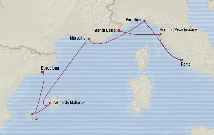 Oceania Cruises | 7-Nights from Monte-Carlo to Barcelona Cruise Iinerary Map