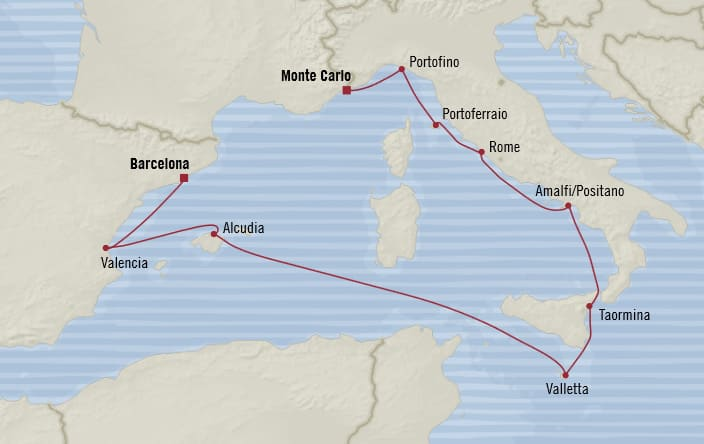 Oceania Cruises | 10-Nights from Barcelona to Monte-Carlo Cruise Iinerary Map