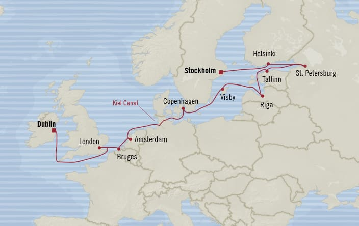 Oceania Cruises   14-Nights from Stockholm to Dublin Cruise Iinerary Map