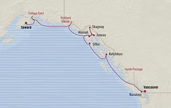 Oceania Cruises   10-Nights from Seward to Vancouver Cruise Iinerary Map