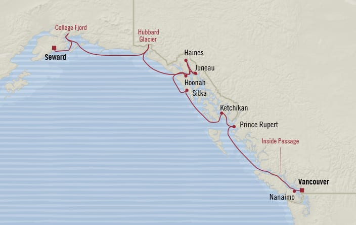 Oceania Cruises | 11-Nights from Seward to Vancouver Cruise Iinerary Map