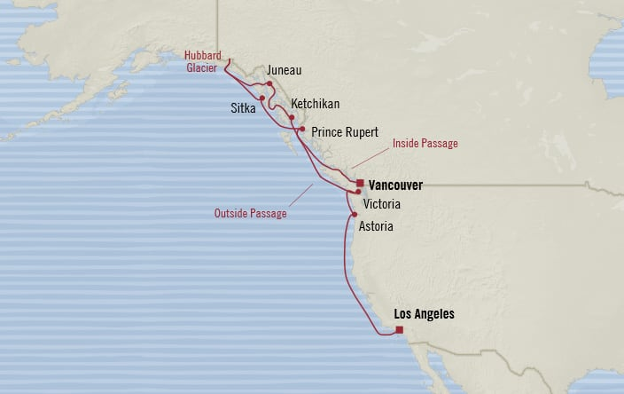 Oceania Cruises | 12-Nights from Vancouver to Los Angeles Cruise Iinerary Map