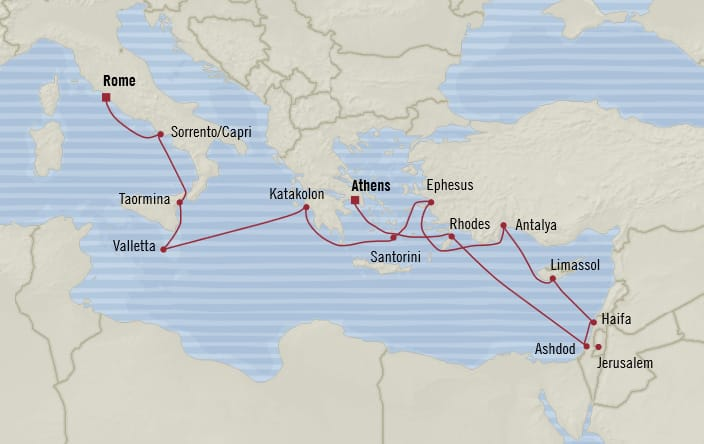 Oceania Cruises | 14-Nights from Rome to Athens Cruise Iinerary Map