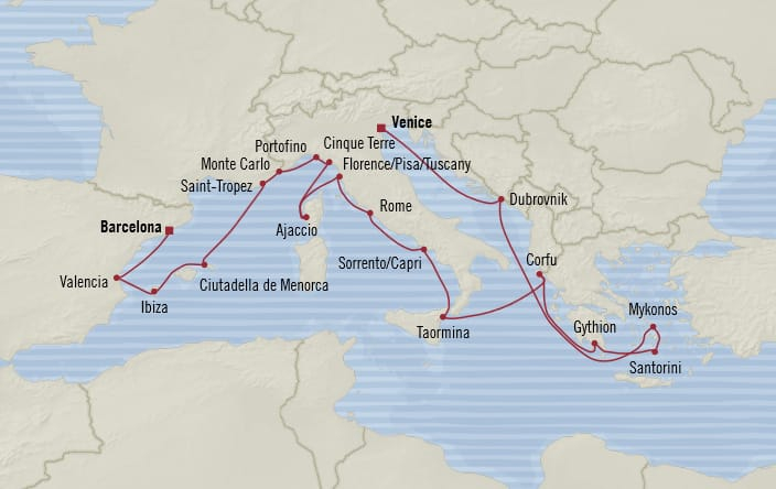Oceania Cruises | 20-Nights from Venice to Barcelona Cruise Iinerary Map