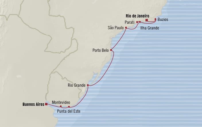 Oceania Cruises | 10-Nights from Rio de Janeiro to Buenos Aires Cruise Iinerary Map