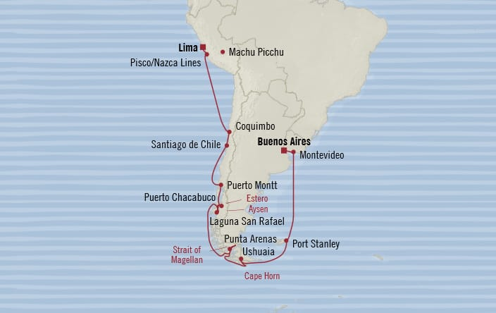 Oceania Cruises   20-Nights from Lima to Buenos Aires Cruise Iinerary Map