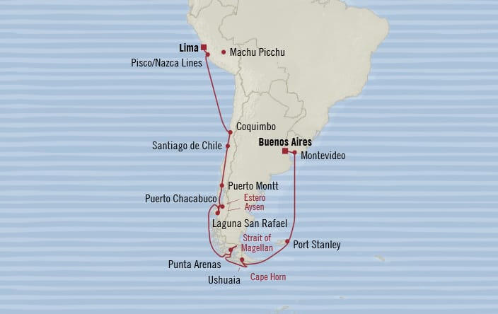 Oceania Cruises | 20-Nights from Lima to Buenos Aires Cruise Iinerary Map