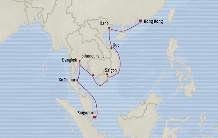 Oceania Cruises   14-Nights from Singapore to Hong Kong Cruise Iinerary Map