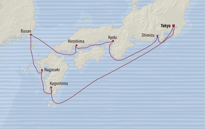 Oceania Cruises | 10-Nights Roundtrip from Tokyo Cruise Iinerary Map