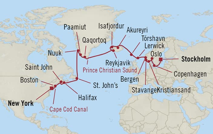 Oceania Cruises | 26-Nights from New York to Stockholm Cruise Iinerary Map