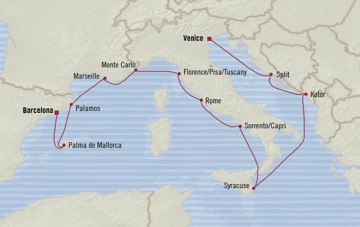 Oceania Cruises | 12-Nights from Venice to Barcelona Cruise Iinerary Map