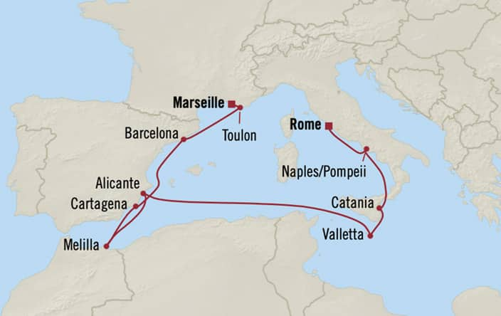 Oceania Cruises | 10-Nights from Monte-Carlo to Rome Cruise Iinerary Map