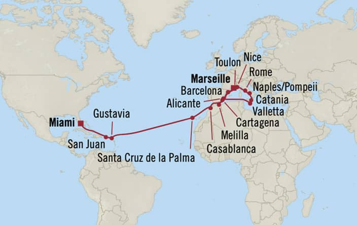Oceania Cruises | 26-Nights from Monte-Carlo to Miami Cruise Iinerary Map