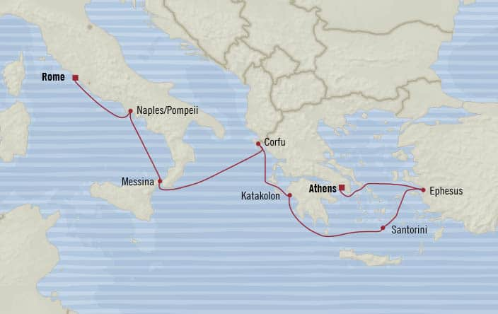 Oceania Cruises | 7-Nights from Rome to Athens Cruise Iinerary Map