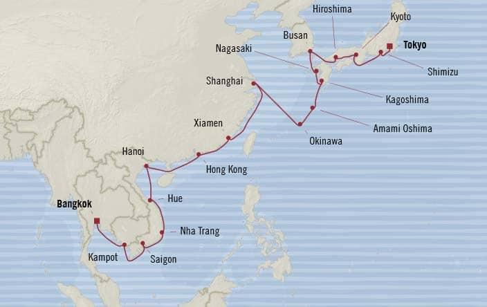 Oceania Cruises   28-Nights from Tokyo to Bangkok Cruise Iinerary Map