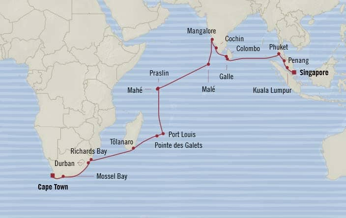 Oceania Cruises | 30-Nights from Cape Town to Singapore Cruise Iinerary Map