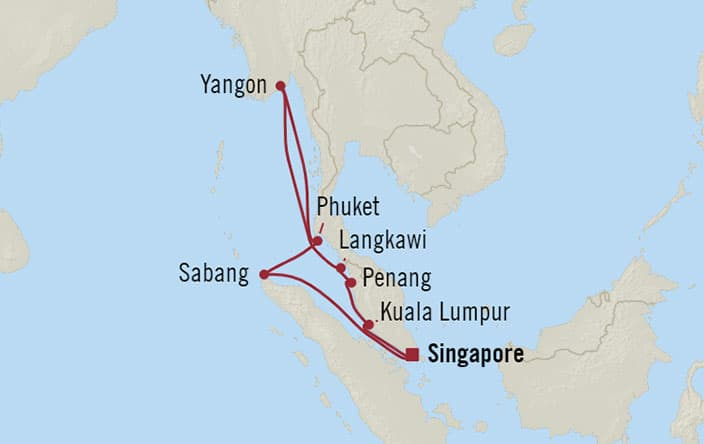 Oceania Cruises | 12-Nights Roundtrip from Singapore Cruise Iinerary Map