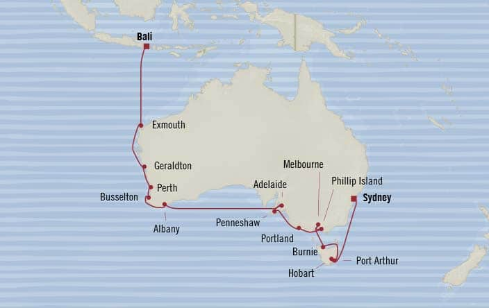 Oceania Cruises | 21-Nights from Bali to Sydney Cruise Iinerary Map