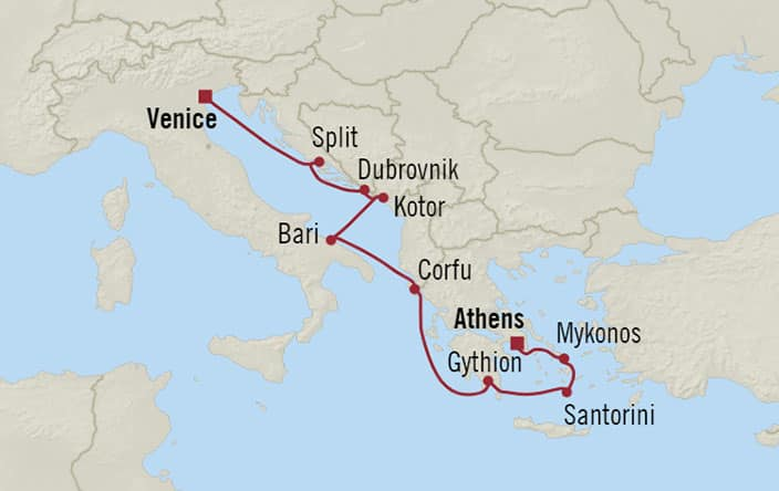 Oceania Cruises | 10-Nights from Athens to Venice Cruise Iinerary Map